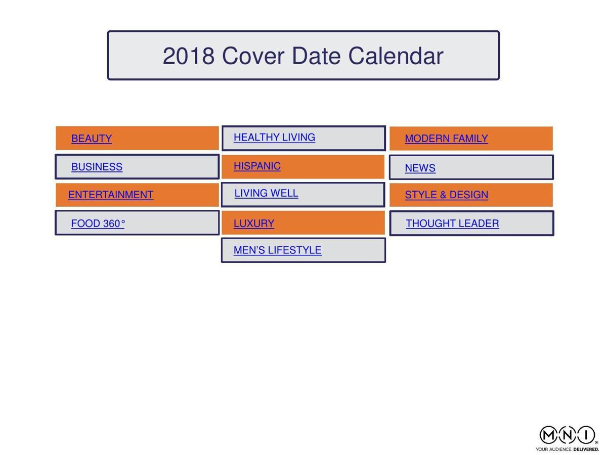 2018 Cover Date Calendar